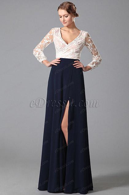 Vestido de Fiesta Encaje Dos Piezas Alta Raja Larga Mangas (00150205)