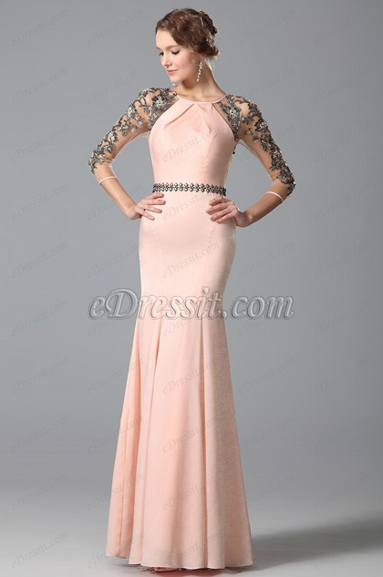 Glamorous Pink Long Evening Gown With Lace Sleeves (00153101)
