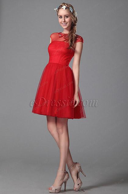 Robe cocktail rouge sans manches broderie et perles 04151102 for Robes de demoiselle d honneur aqua pour mariage sur la plage