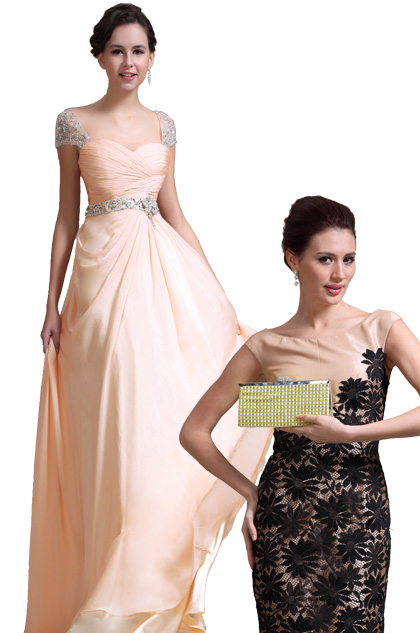 Gorgeous Cap Sleeves Evening Dress + Golden Handbag Set (00137214+08130924)