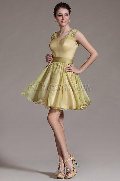 Robe de fête/demoiselle d'honneur patineuse vert-jaune (C07140804)