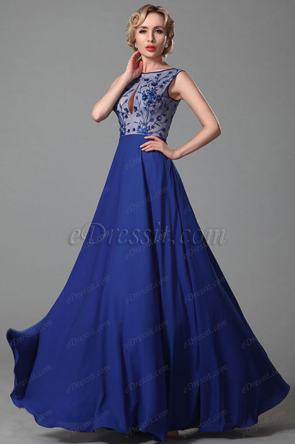 Stylish A Line Sequined  Blue Evening Dress Prom Gown (00152605)