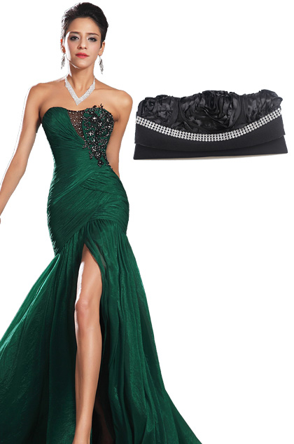 Stunning Green High Slit Strapless Evening Dress Black Handbag Set (00134604+08110900)