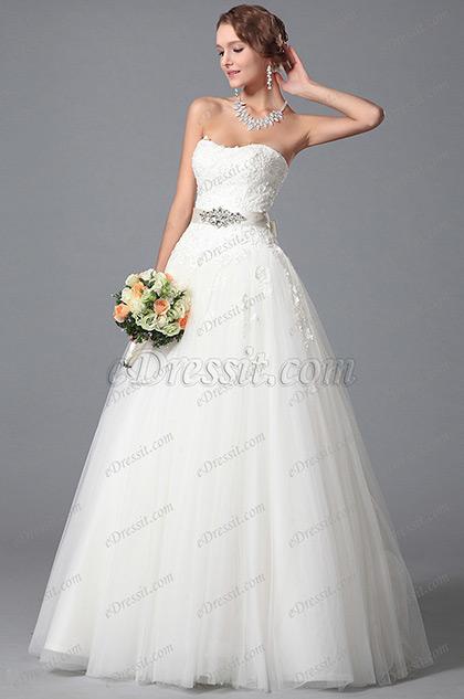 Vestido de Novia Piedritas Decorado Falda Princesa Tul (01150707)