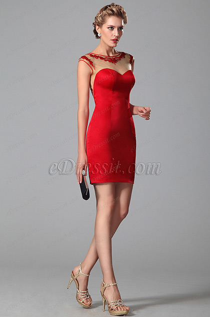 eDressit Lace Embroidery Cap Sleeves Red Day Dress (03150302)
