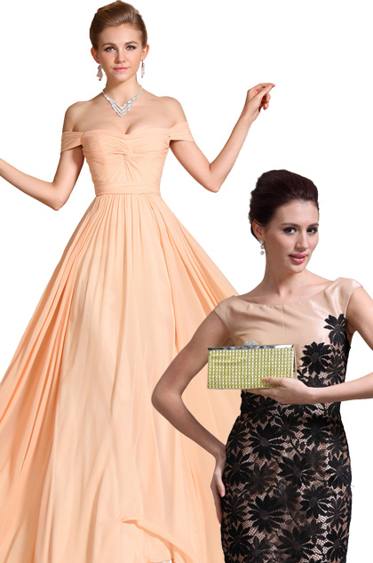 Fabulous Sweetheart Evening Dress Bridesmaid Dress+Golden Handbag Set (C00090701+08130924)