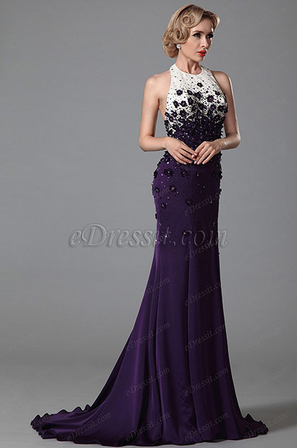 Sexy Halter Mermaid Gown With Delicate Embroidery Applique (02151706)
