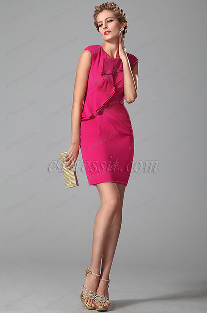 Stylish Short Day Dress With Scalloped Design (03150212)