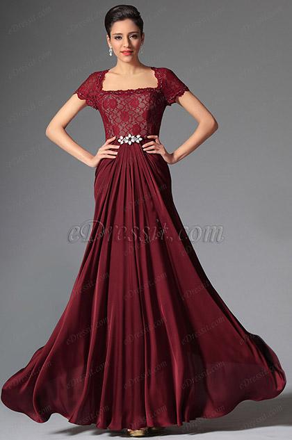 Elegante Vestido para Madrina Cortas Mangas de Encaje Rojo (26148317)