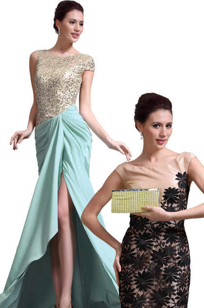 Gorgeous Asymmetric sleeves Sequins Evening Dress + Golden Handbag Set (00137804+08130924)