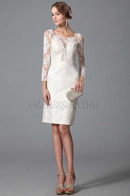 eDressit Bateau Neck Long Lace Sleeves Cocktail Dress(03150507)