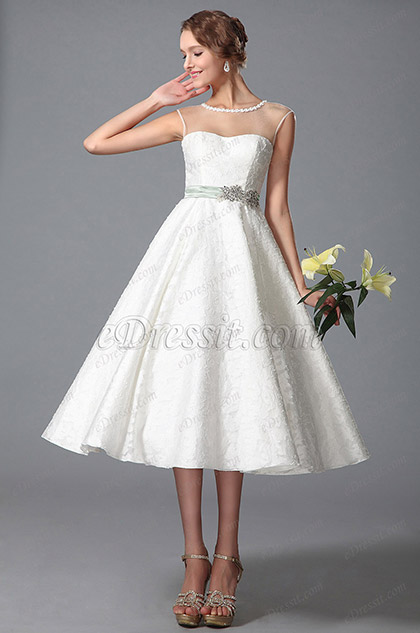 eDressit Sleeveless Sheer Top Tea Length Wedding Gown (01150107)