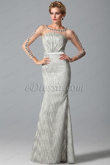Длинный Рукав Платье для Мамы Невесты с Бисерами (26151208)