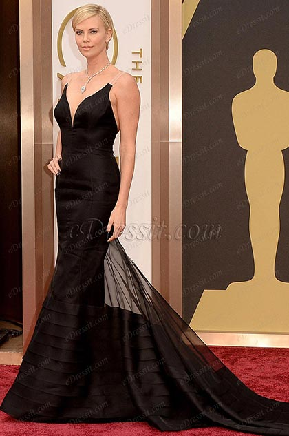 Custom Made 86th Oscar Star Charlize Theron Gorgeous Black Gown (cm1403)