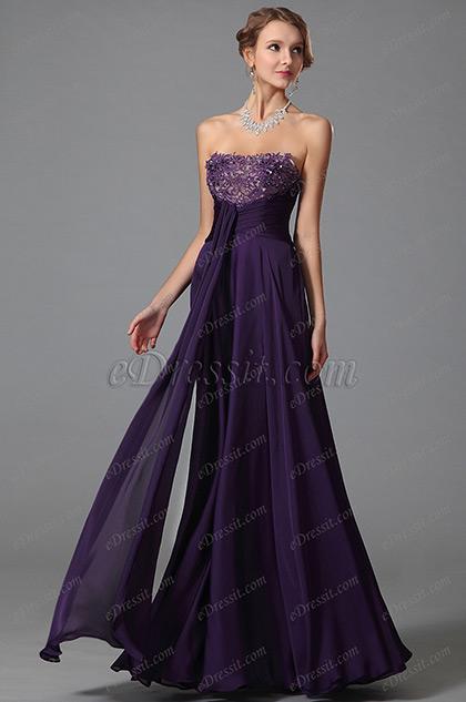 Robe de soirée longue bustier violette taille empire (00152406)