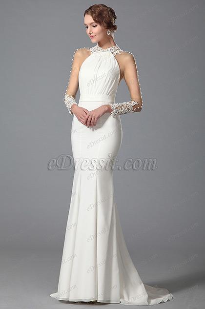Espalda Diseñado Vestido de Novia Vestido de Noche Blanco Sirena(01150307)