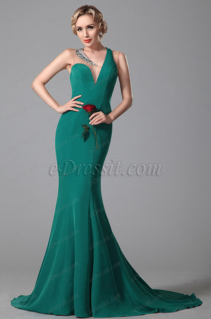 One Shoulder V Neck Polyester Evening Dress Formal Gown (02150905)