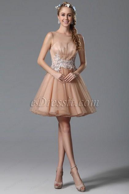 Flattering Sleeveless Lace Applique Peach Cocktail Dress (04150701)