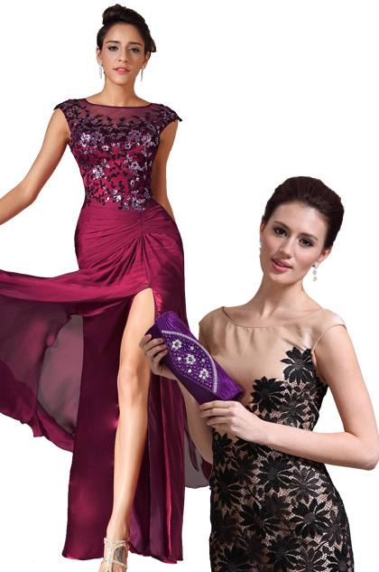 Sheer Top High Slit Floor Length Evening Dress Purple Handbag Set (02140112+08130806)