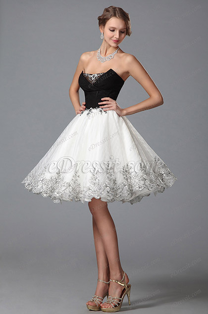 Edressit Strapless V Cut Cocktail Dress Homecoming Dress