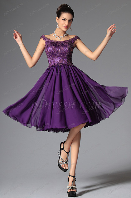 Elegant Off Shoulder Lace Purple Cocktail Dress Party Dress (04145706)