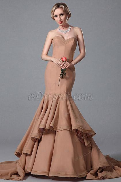 Vestido de Noche Corte Sirena , Escote corazon y Falda Capas(02151646)