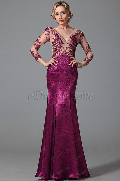 Stunning Long Sleeves Evening Gown With Embroidery Details (02152312)