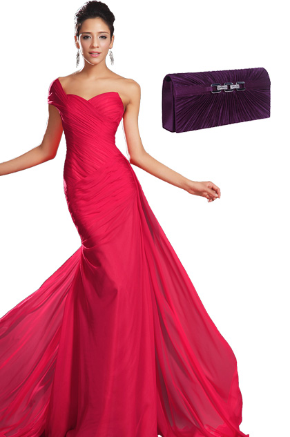 Gorgeous Red One Shoulder Evening Dress + Purple Handbag Set(00132102+08110506)