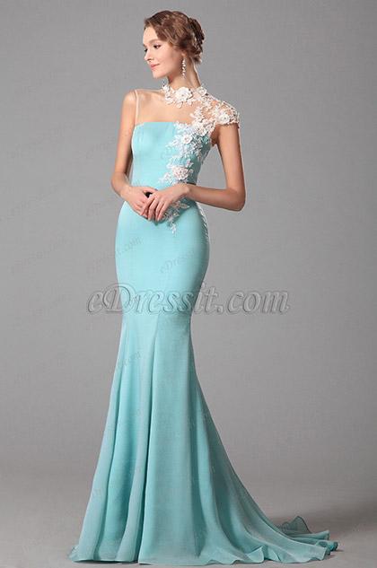 Edressit Lace Neck Light Blue Evening Dress Formal Gown 00150632