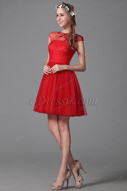 Robe cocktail rouge sans manches broderie et perles (04151102)