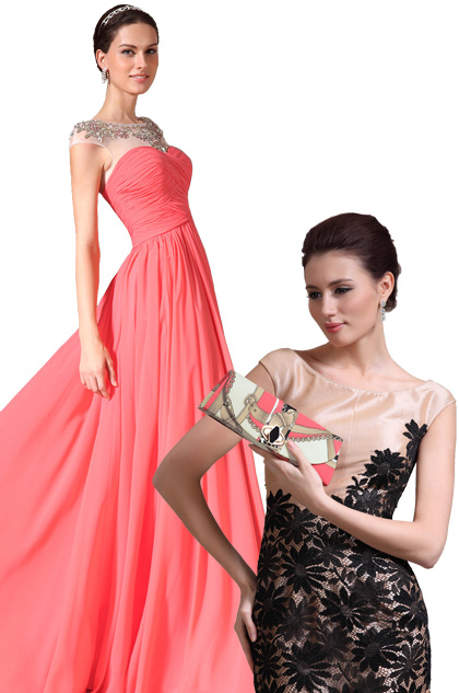 Sheer Top Round Neck Full Length Prom Dress +Stylish Handbag Set (02143757+08130768)