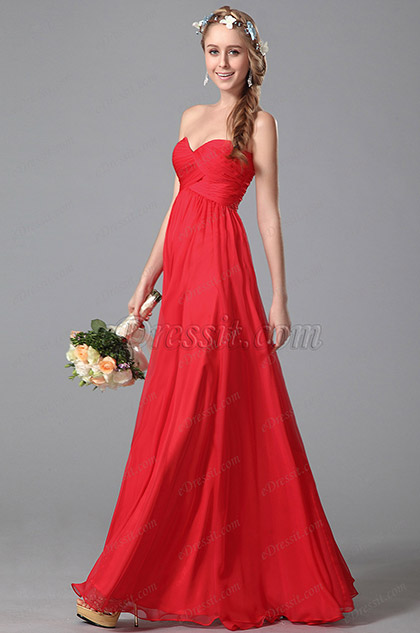 eDressit Strapless Sweetheart Empire Waist Bridesmaid Dress (07150602)