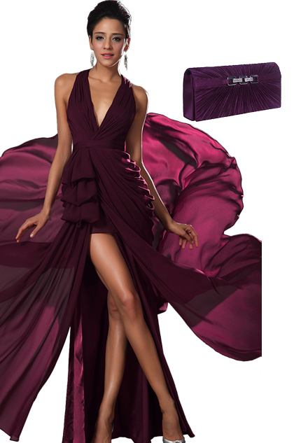 Stylish Halter V Cut High Split Evening Dress +Purle Handbag Set (00131117+08110506)