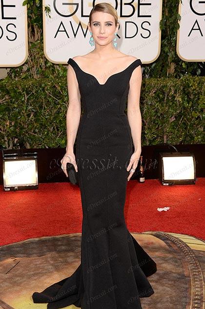 Emma Roberts Traje Formal de Noche Negro Golden Globe Awards(cm1404)