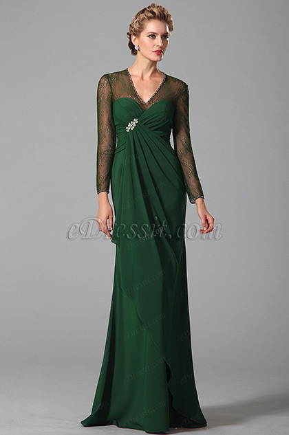 Long Sleeves Mother of the Bride Dress With V Neck (26150504)
