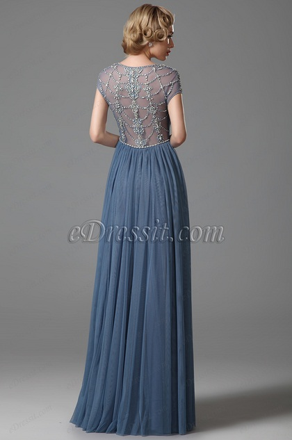 Sexy V Neck Empire Waist Embroidery Evening Dress (02152132)