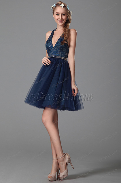 Sexy V Ausschnitt Halter Stil Homecoming Dress Party Kleid (04150905)