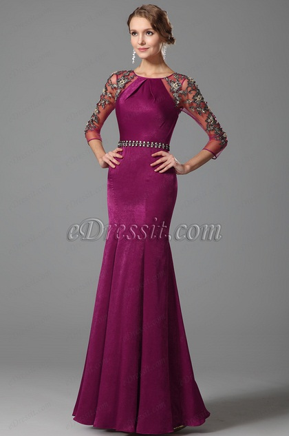 Hot Pink Lace Sleeves Mermaid Evening Gown (00153112)
