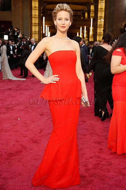 Custom Made Jennifer Lawrence Strapless Gown for Academy Awards (cm1406)