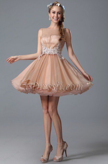 Flattering Sleeveless Lace Applique Peach Cocktail Dress (04150701)