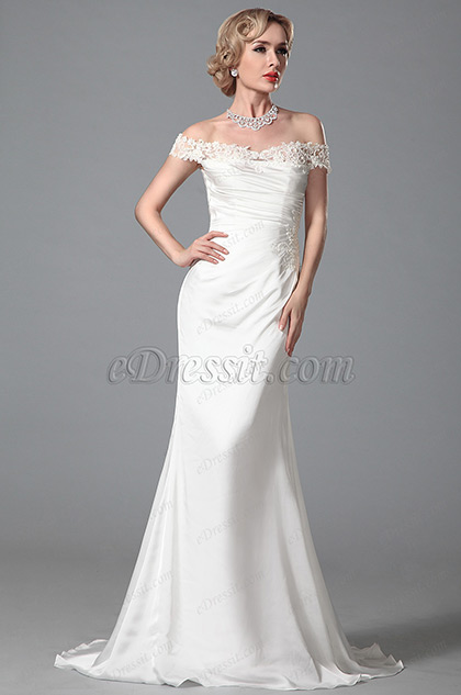 Elegant Off shoulder White Evening Gown Bridal Dress (01150507)