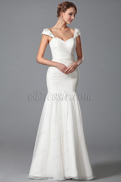 Cap Sleeves Sweetheart Neck Bridal Dress Floor Length (01150607)