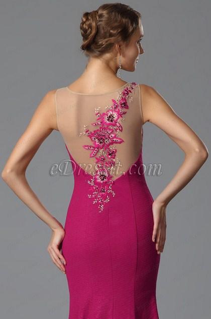 Vestido Formal Sin Manga Falda de Sirena Bordado de Encaje (02153212)