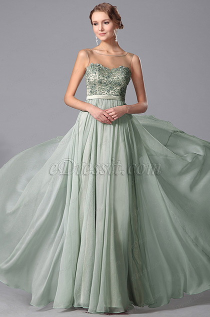 Stunning Sleeveless Beaded Embroidery Prom Gown Evening Dress (00151204)