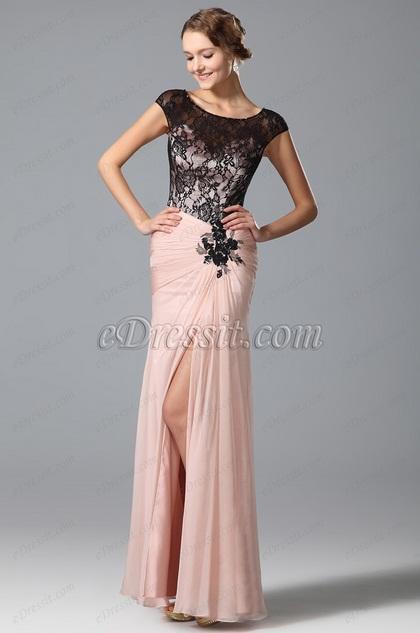 Flügelärmel Hoch Schlitz Abendkleid Prom Kleid (00153001)