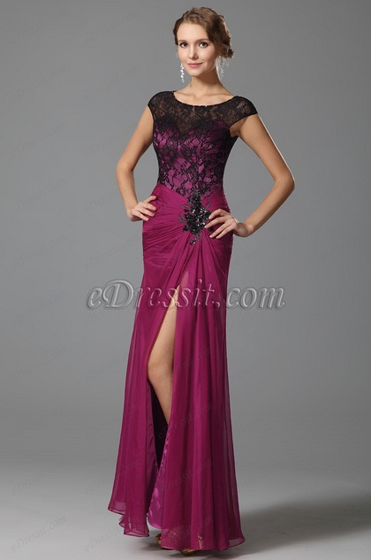 glamorous hot pink evening dress with cap sleeves 00153012. Black Bedroom Furniture Sets. Home Design Ideas