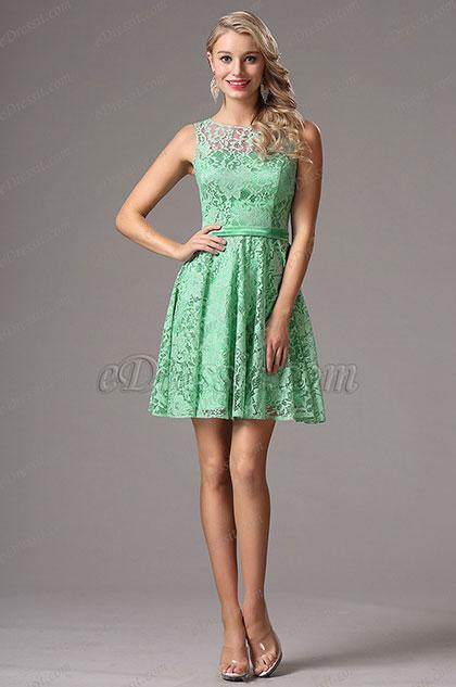 Green Lace Bridesmaid Dress Cocktail Dress (X07152604)