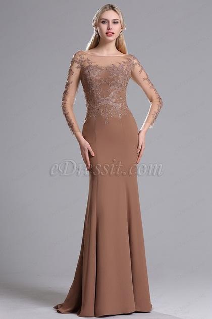 eDressit Illusion Neckline Long Sleeves Floral Mermaid Dress (26162720)