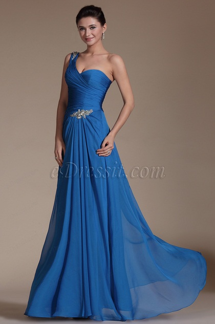 2014 New Stylish Bule One Shoulder Evening Dress (C00146905)