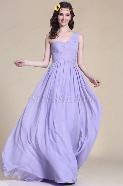 Pleated One Shoulder Lavender Bridesmaid Dress (07151306)